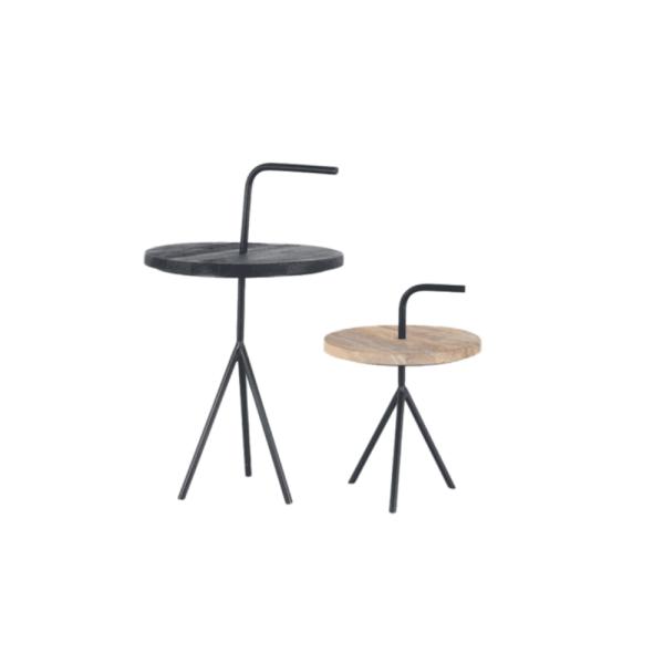 Moods-Collection – Bijzettafel set van 2 zwart/hout/staal