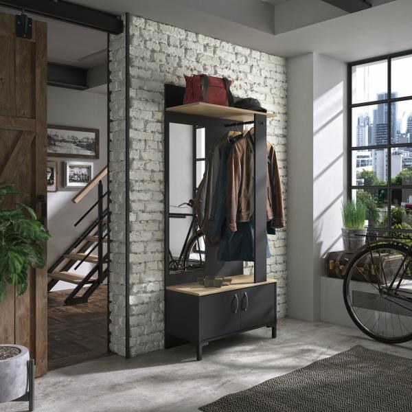 Garderobekast Store 190cm - Zwart/ eiken