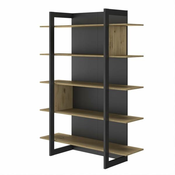 Boekenkast Russel 180cm - Zwart/ eiken