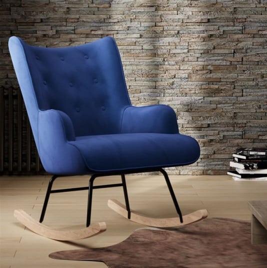 Schommelstoel steerne blauw velvet