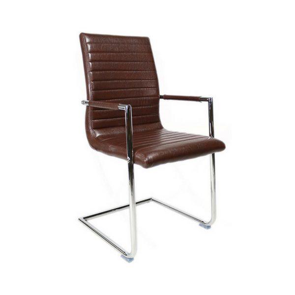 Bars eetkamer stoel met verchroomd metalen frame - Chocolade bruin
