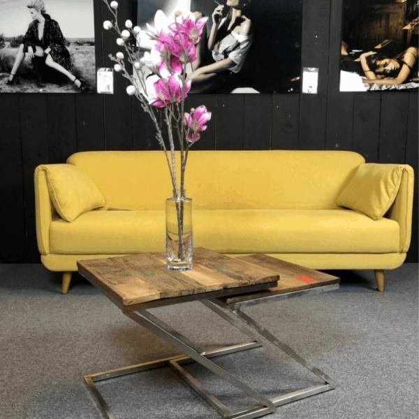 showroom model 3-zits designbank geel flap