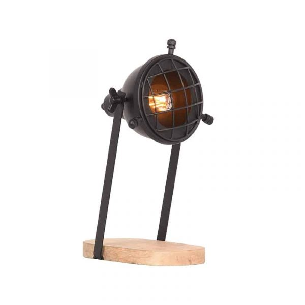 LABEL51 - Tafellamp Grid - Zwart - Mangohout