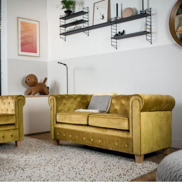 Chesterfield Bank Malibu velours - Mosterd geel