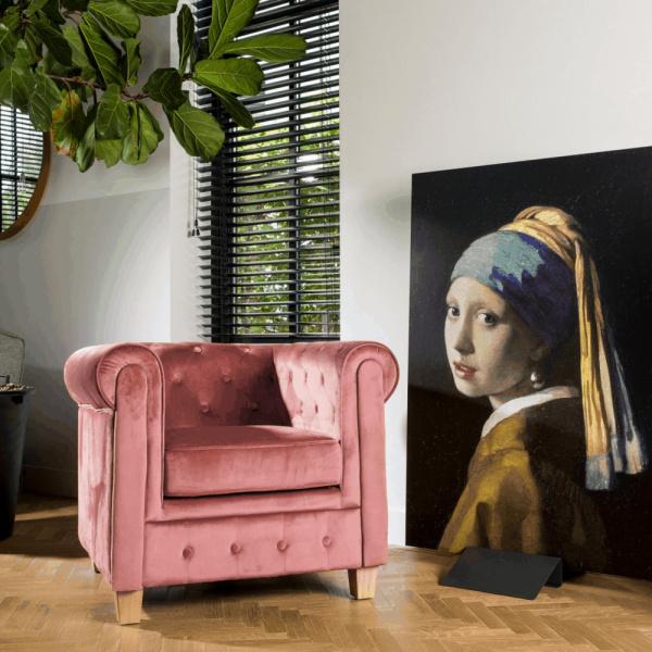 Chesterfield Fauteuil Malibu velours oud roze
