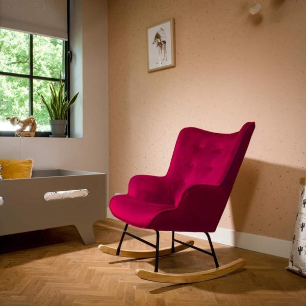 Schommelstoel 'Steerne' – bordeaux rood velvet
