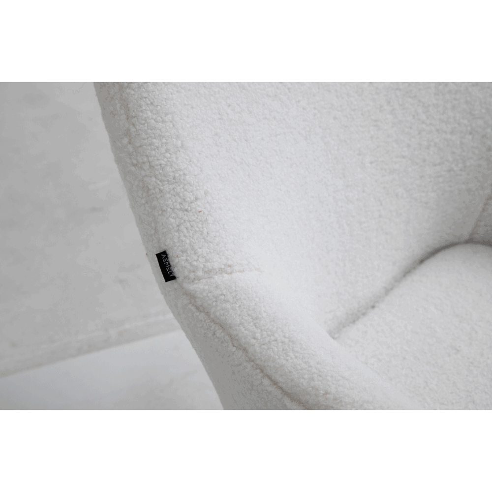 Schommelstoel papa wit beuken poten kunstschapenstof
