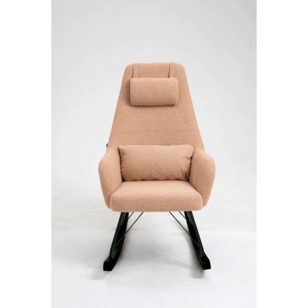 Aemely schommelstoel papa beige kunstschapenstof met zwarte poten