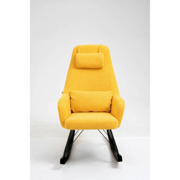Aemely schommelstoel papa mosterd geel kunstschapenstof met zwarte poten