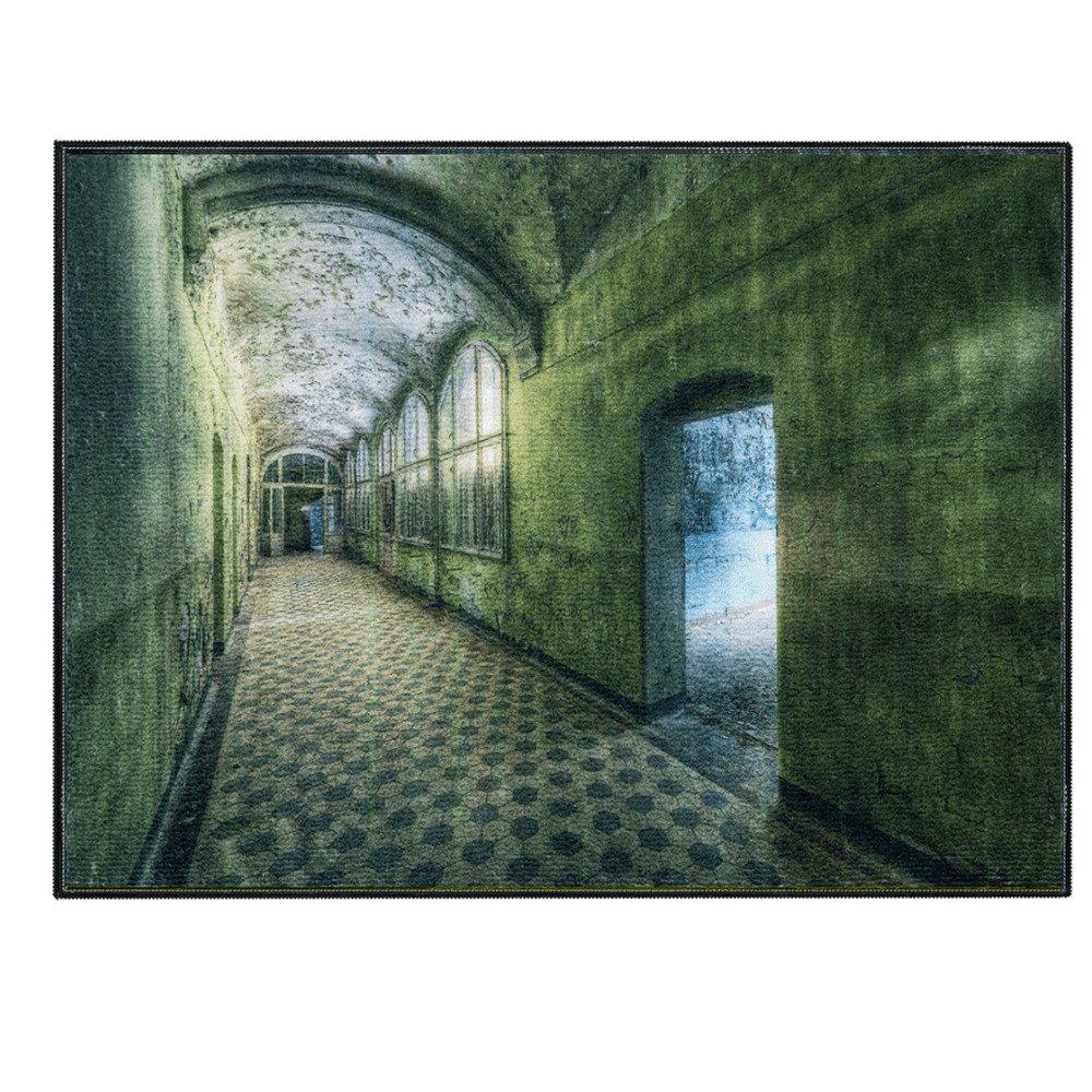 Laagpolig vloerkleed - Kunstwerk groene hal