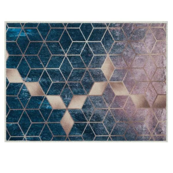 Laagpolig vloerkleed- Abstract ruiten goud