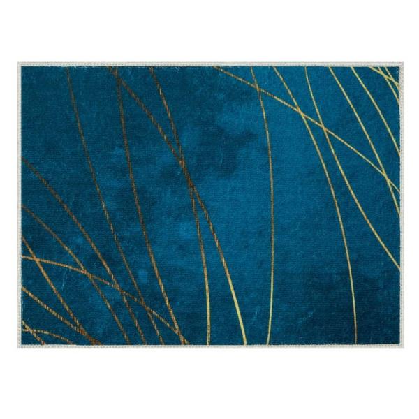 Laagpolig vloerkleed - Zeegroen met Gouden draden