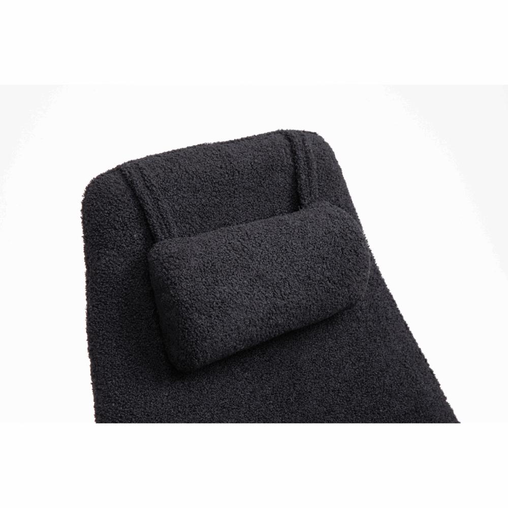 Schommelstoel Papa zwarte kunstschapenstof met zwarte poten