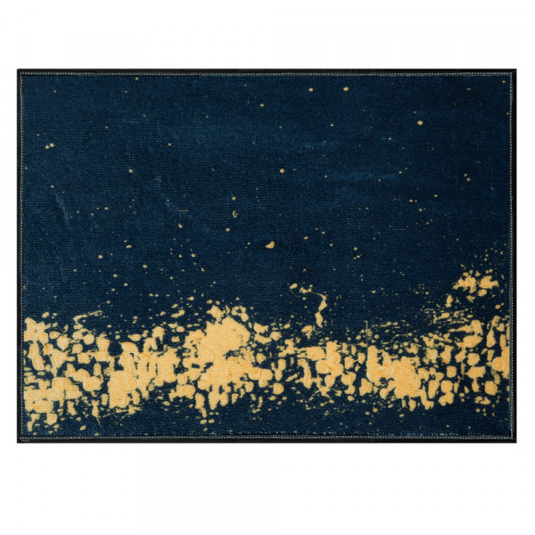 Laagpolig vloerkleed - Abstract zwart goud