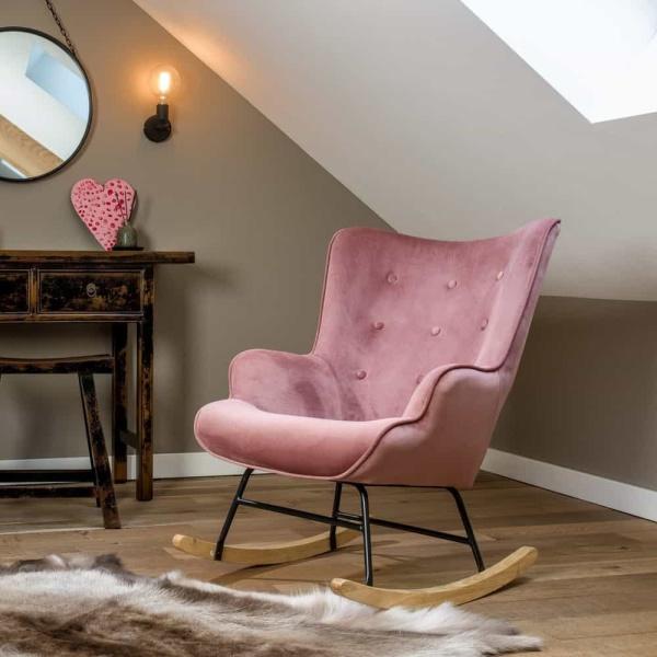 schommelstoel steerne roze velvet
