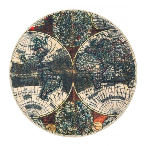 karpet/ vloerkleed wereldkaart rond