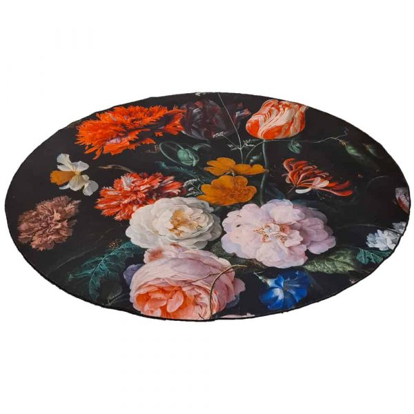 Aemely karpet/ vloerkleed Bloemen klassiek rond