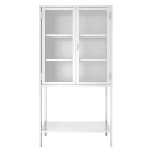 Kast 'Mari' 150 cm met glazen deurtjes - Wit
