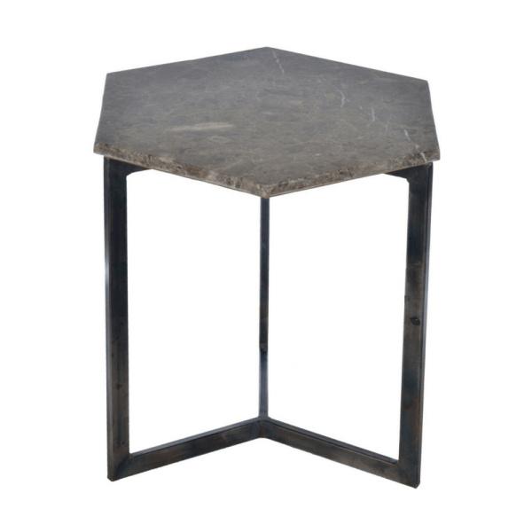 Zeshoekige tafel - Marmer grijs