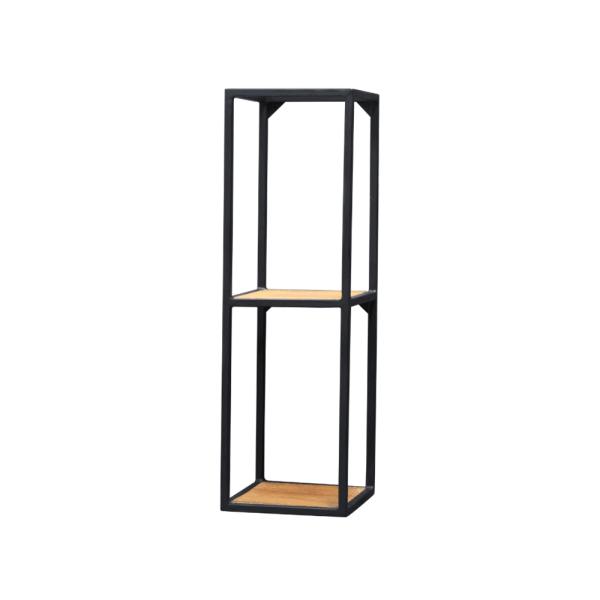 Wandrek – 2 vaks – zwart staal – met donkerbruin mangohout