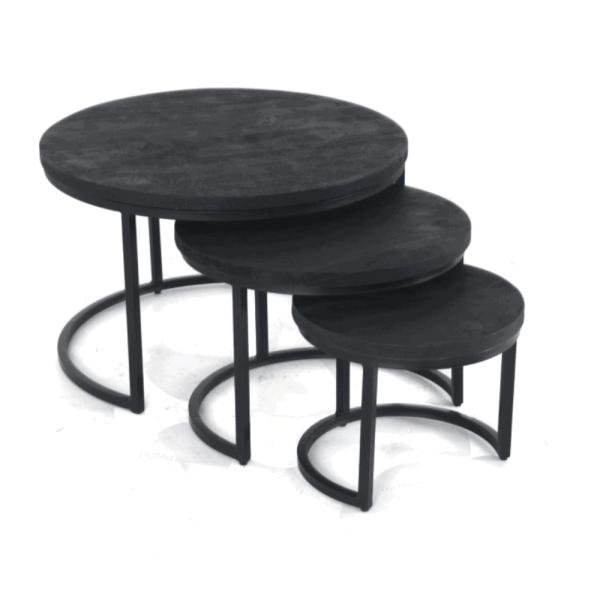 Sidetable - Set van3 - Zwart hout
