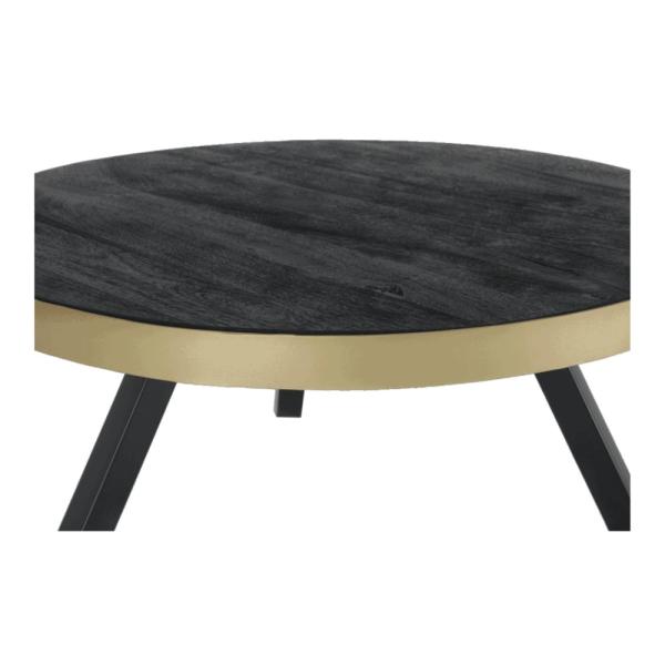 Salontafel - Zwart hout - Met gouden rand
