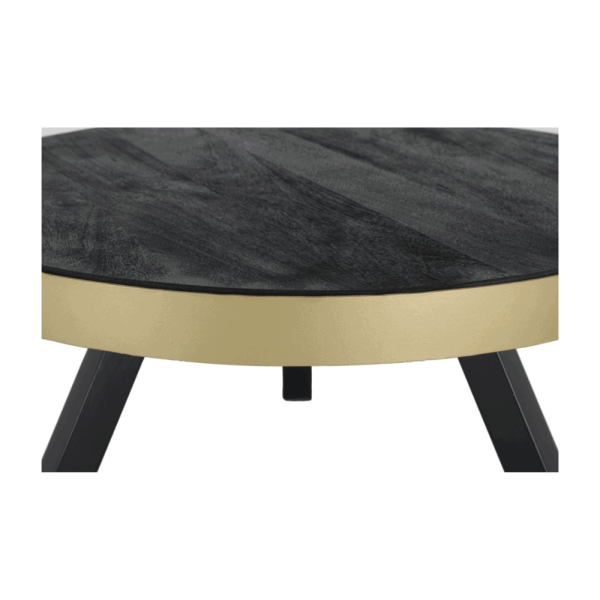 Salontafel - Zwart hout - Met gouden rand - 70 cm