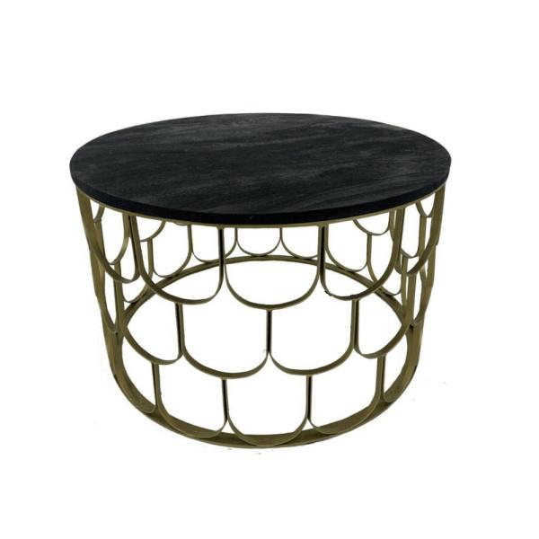 Salontafel - Gouden frame - Met zwart blad