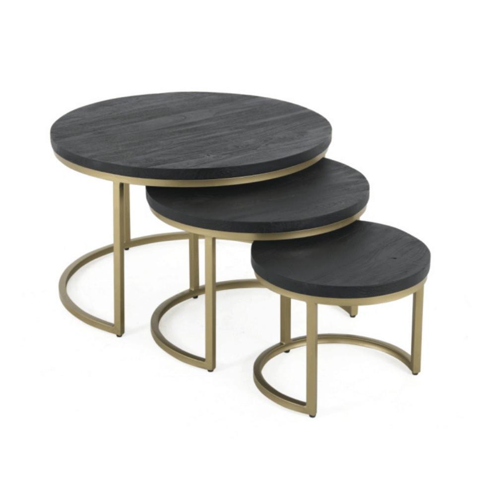 Moods - Collection - Sidetable - Set van 3 - Zwart met gouden onderstel