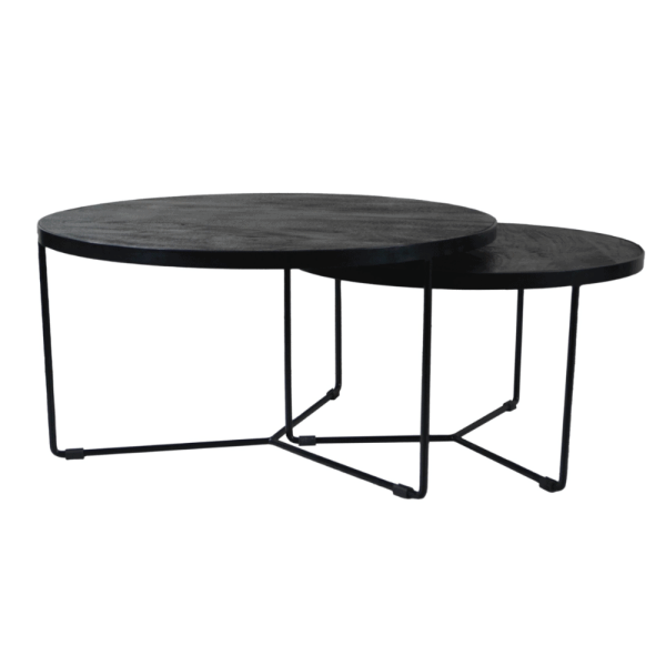 Salontafel - Set van 2- Zwart hout - Stalen frame