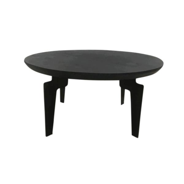 Salontafel - Rond - Zwart hout - Stalen frame