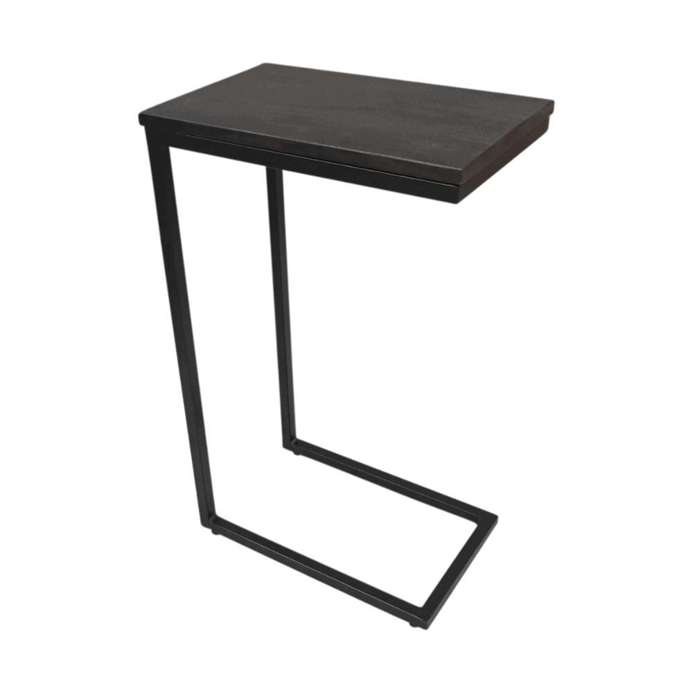 Bijzet- Laptoptafel - Zwart acaciahout - Met staal VPE