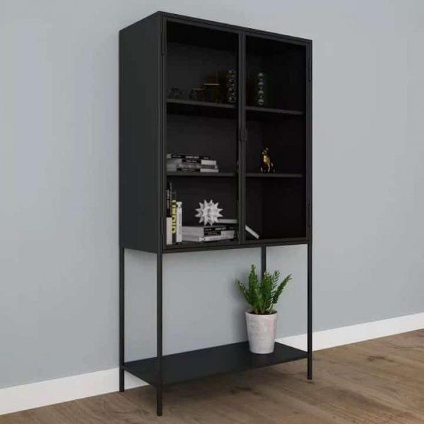 Kast 'Mari' 150 cm met glazen deurtjes – Zwart