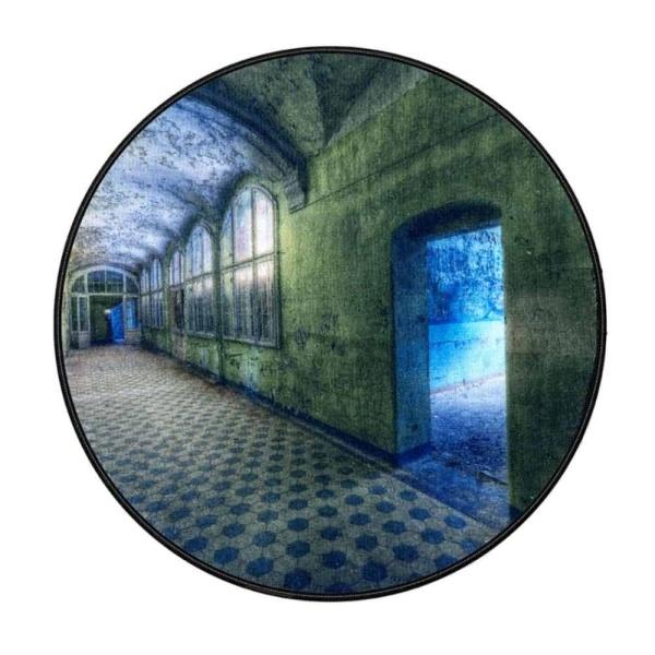 Rond vloerkleed 200cm - Kunstwerk groene hal
