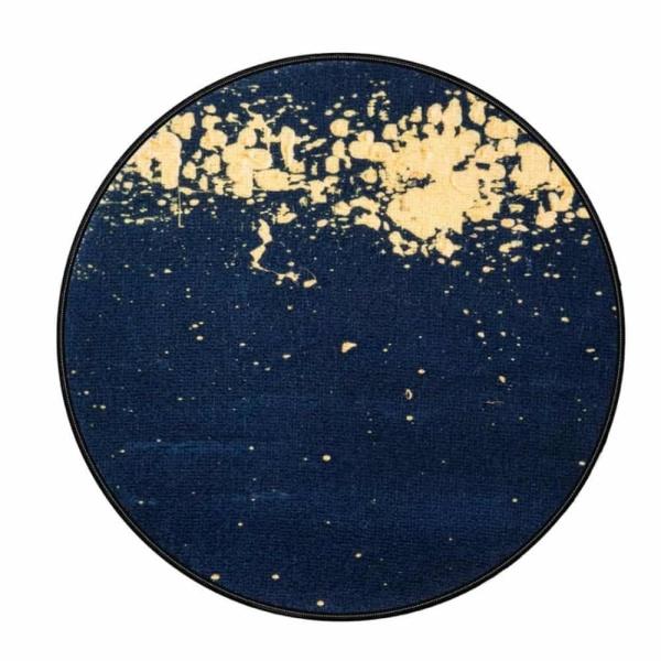 Rond vloerkleed 200cm - Abstract zwart goud