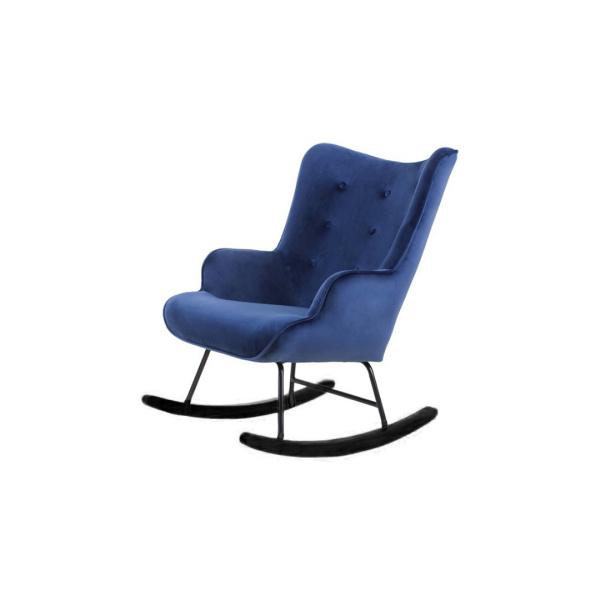 blauwe schommelstoel fluweel velvet