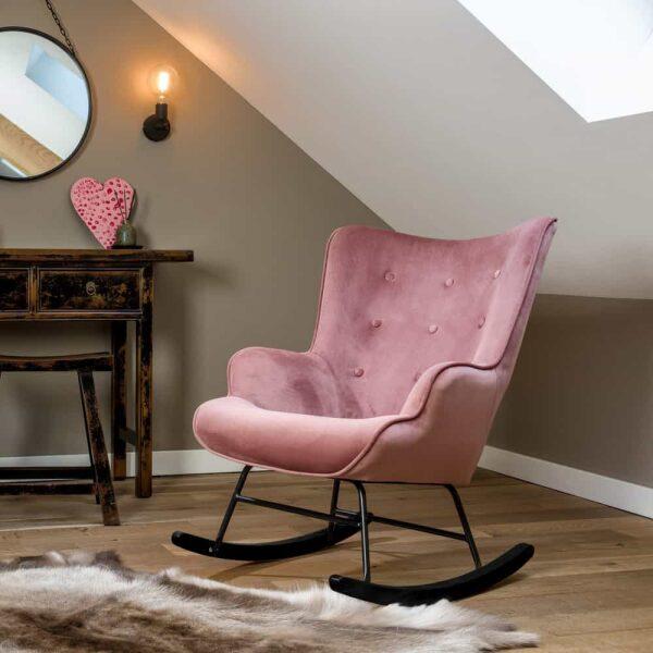 Schommelstoel 'Steerne' – roze velvet - zwarte poten