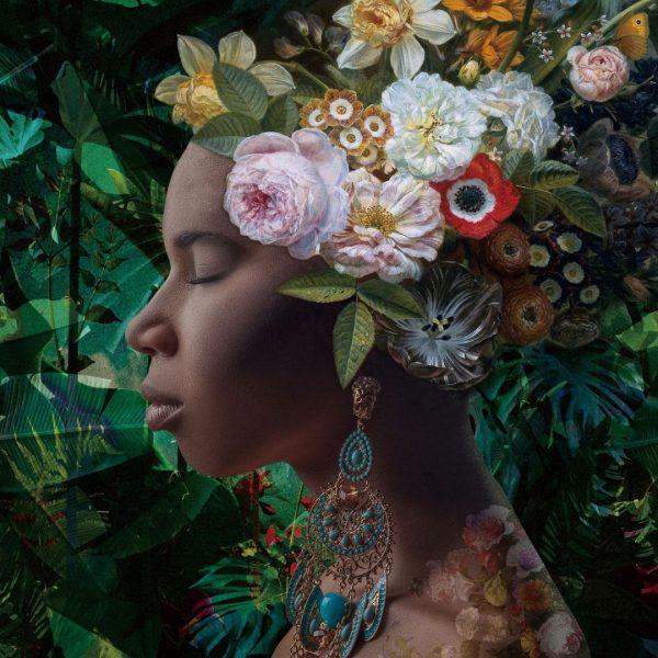 Glasschilderij bloemen vrouw 80x80cm