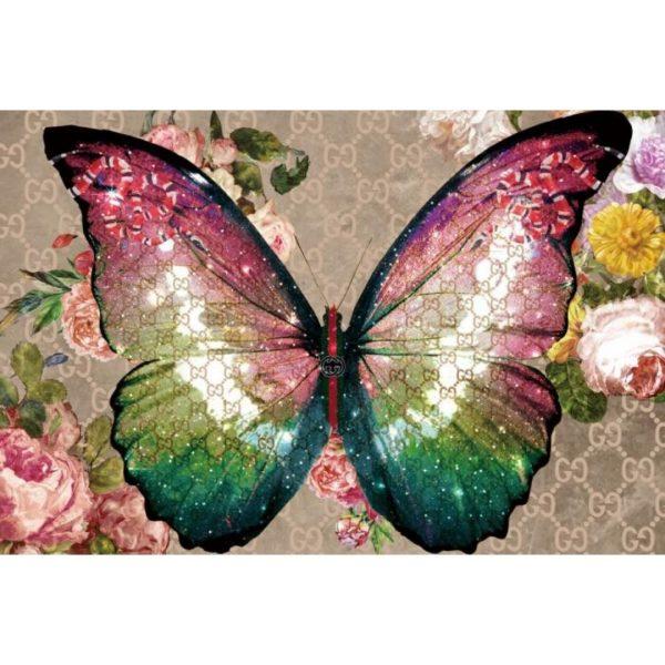 Glasschilderij regenboog vlinder120x80cm