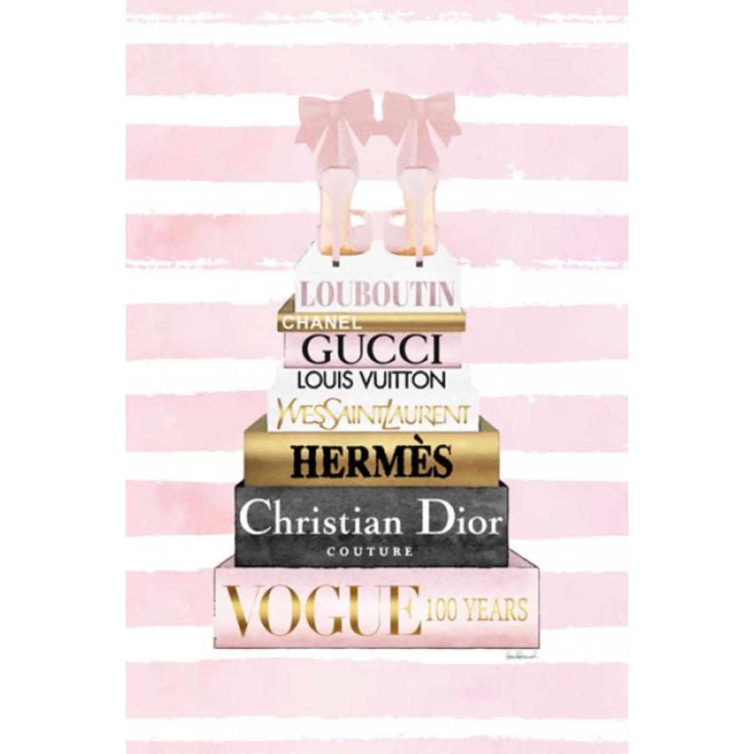 glasschilderij - Fashionbooks roze, roze hakken