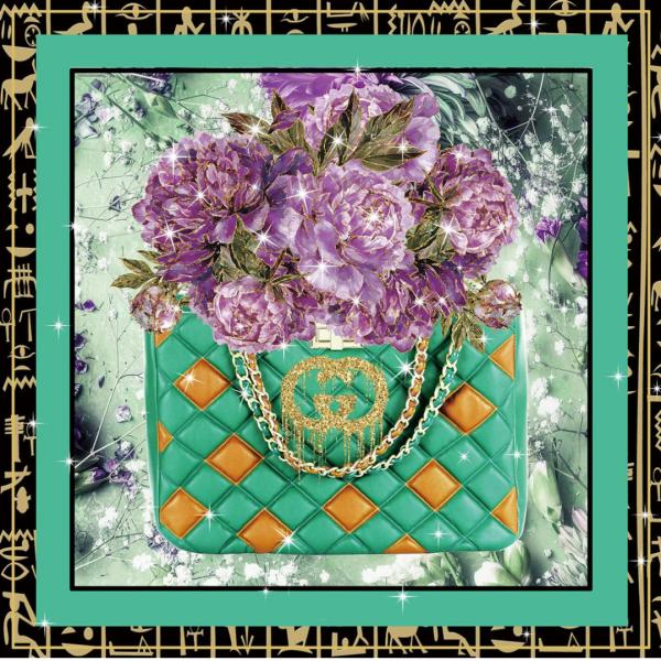 glasschilderij - Gucci tas met paarse bloemen