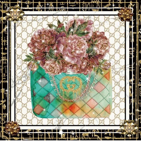 glasschilderij - Gucci tas met roze bloemen