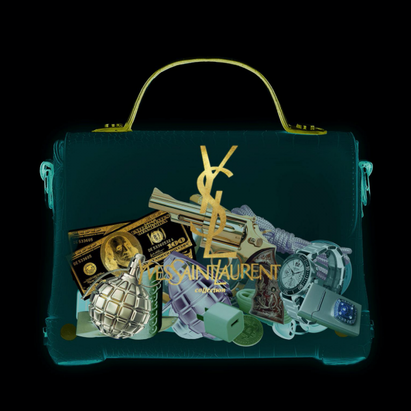 glasschilderij - Yves Saint Laurent tas