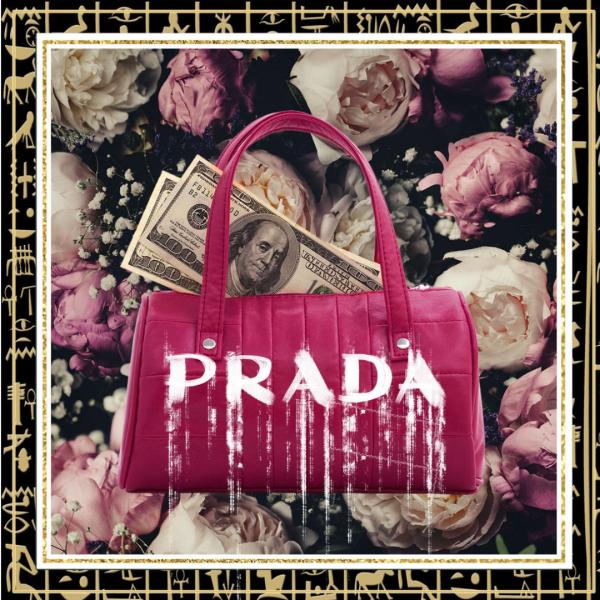 glasschilderij - roze Prada tas