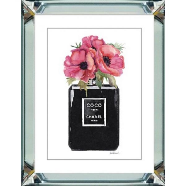 spiegellijst - Chanel parfum roze bloemen