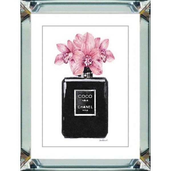 spiegellijst - Chanel parfum zwart met roze bloemen