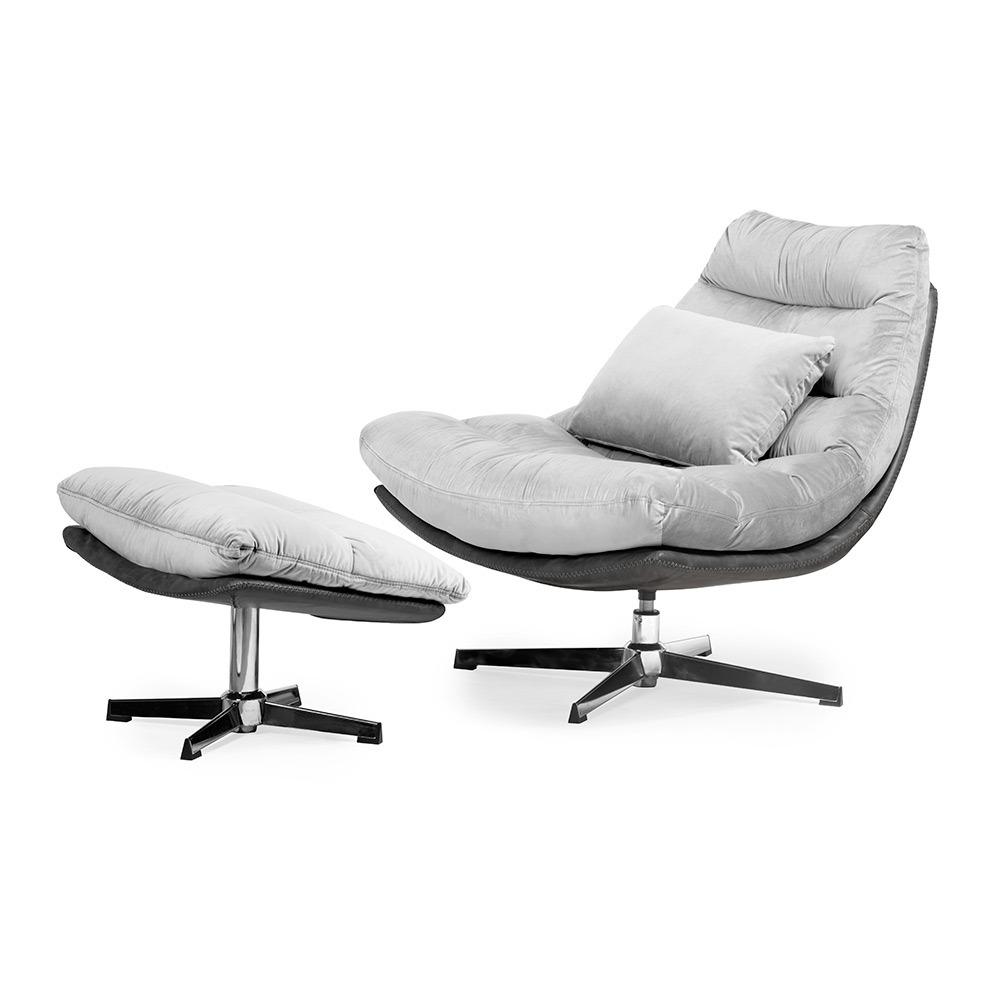 Luxe ligstoel Cesar - Zilver fluweel
