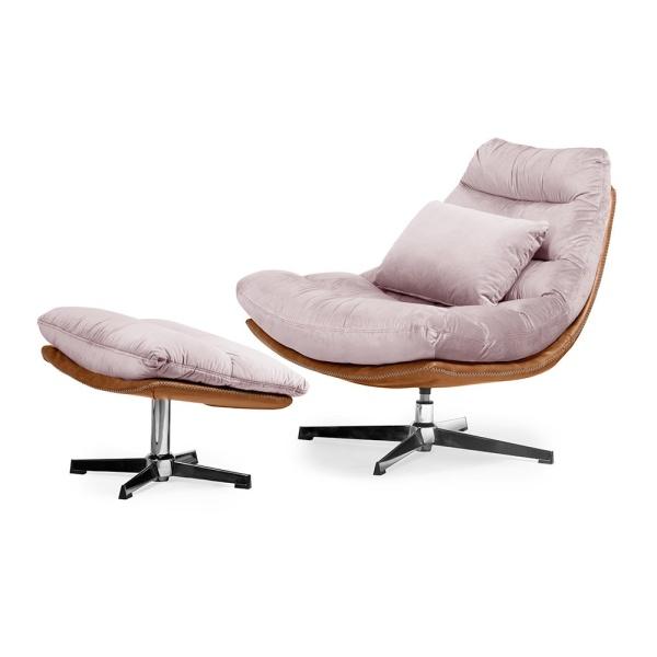 Luxe ligstoel Cesar - Rosé fluweel