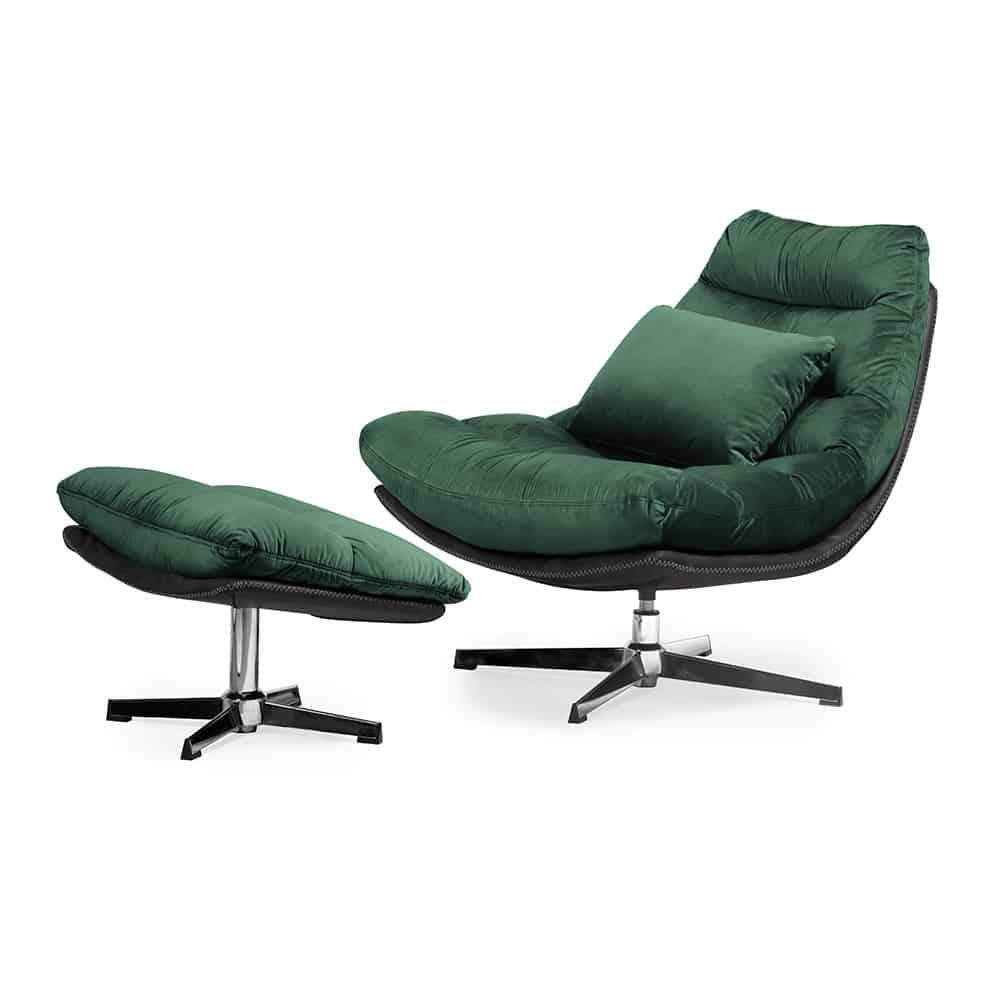 Luxe ligstoel Cesar - Groen fluweel