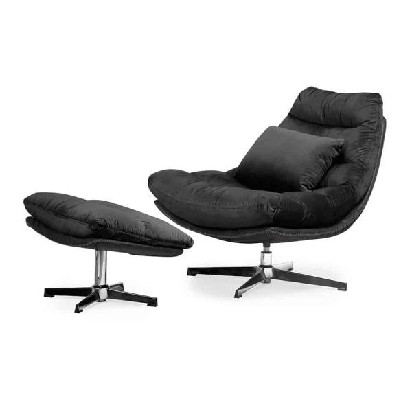 Luxe ligstoel Cesar - Zwart fluweel